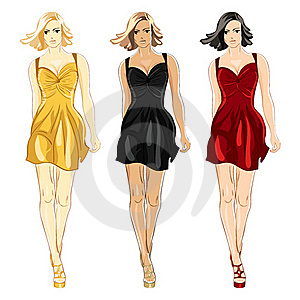 Vector Set Of Dress Black, Red And Gold Colors Stock Photos - Image: 19688053