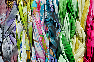 Colorful Scarves On A Rack Stock Photos - Image: 19692173