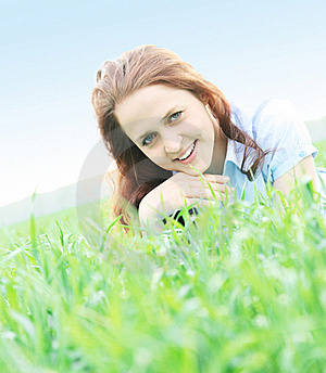 Girl Lying On Grass Royalty Free Stock Photo - Image: 19692905