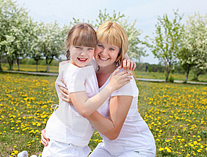 Girl With Mother In Spring Park Stock Photos - Image: 19693813