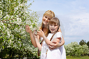 Girl With Mother In Spring Park Royalty Free Stock Photography - Image: 19693827