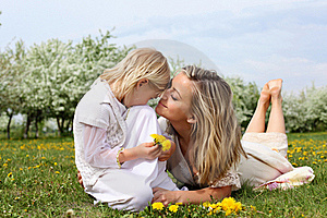 Girl With Mother In The Park Stock Photo - Image: 19693860