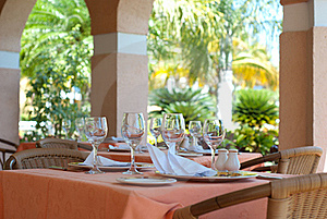 Restaurant With Glasses On Tables Royalty Free Stock Image - Image: 19699816