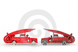 Old Vs. New: Toy Car Denis Fire Engine #3 Stock Photo - Image: 1973460