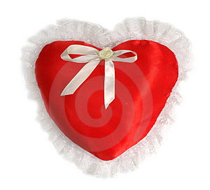 Red Pillow As A Heart On The Day Of Sainted Valentine On A White Royalty Free Stock Photo - Image: 1976815
