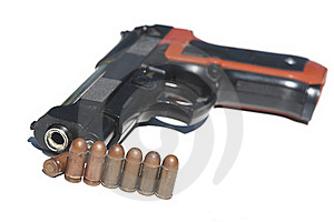 Pistol And Ammunition Royalty Free Stock Photography - Image: 19701627