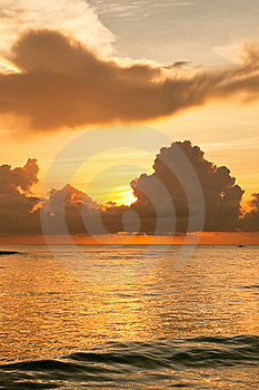 Bright Sunrise In Early Morning With Sand Beach Stock Photo - Image: 19701770