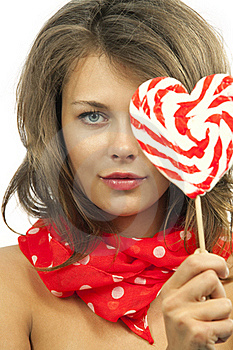 Woman With Heart Shaped Lollipop Stock Image - Image: 19703501