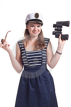 A Girl In A Sailor Cap Royalty Free Stock Images - Image: 19705379