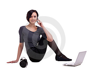 Businesswoman Sit With Laptop Talk On Cell Stock Photos - Image: 19706643