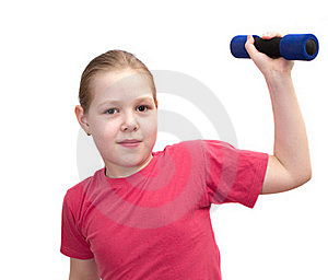 The Girl From Dumbbells Royalty Free Stock Photos - Image: 19707518