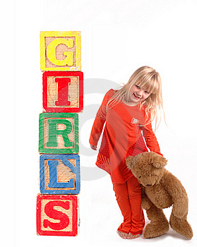 Elementary Student With Wooden Blocks Stock Photography - Image: 19708832