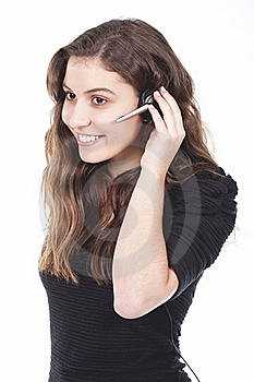 Woman With Headset Stock Photo - Image: 19710380