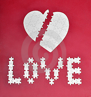 Love And Broken Heart Puzzle Stock Image - Image: 19710491