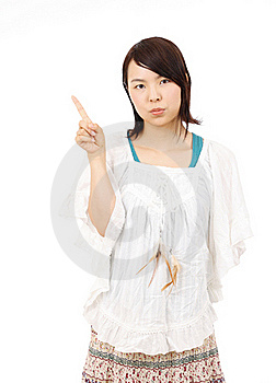 Portrait Of Young Asian Woman Pointing Stock Images - Image: 19712064