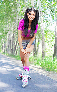 Woman On Roller Skates Royalty Free Stock Images - Image: 19712069