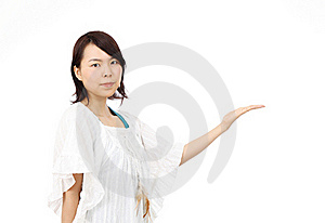 Young Asian Woman Hand Showing Blank Sign Stock Photos - Image: 19712073