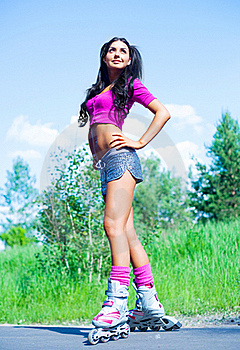 Woman On Roller Skates Stock Photography - Image: 19712102