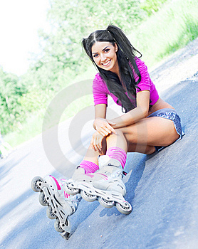 Woman On Roller Skates Stock Images - Image: 19712114