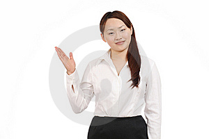 Young Asian Woman Hand Showing Blank Sign Stock Photography - Image: 19712122
