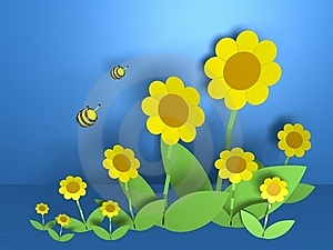 Flowers And Bees Royalty Free Stock Image - Image: 19713646