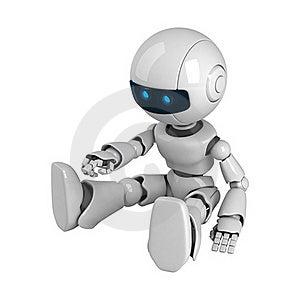 White Robot Sit Stock Image - Image: 19714231