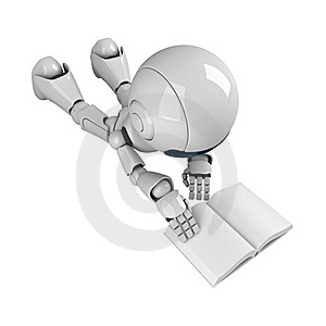 White Robot Read Book Stock Image - Image: 19714261