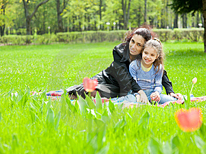 Mother With Daughter Resting Royalty Free Stock Images - Image: 19714389