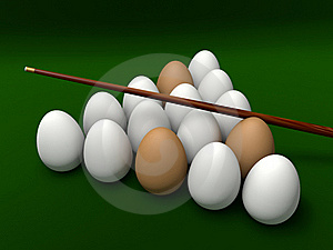 Eggs On The Table For Billiards Stock Image - Image: 19716331