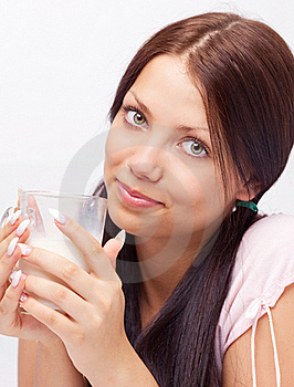 Girl Drinking Milk Stock Image - Image: 19716781