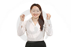 Businesswoman Raising Her Arms In Sign Of Victory Royalty Free Stock Photo - Image: 19716995