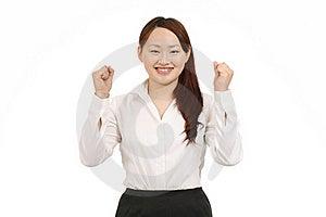 Geschäftsfrau, Die Ihre Arme Im Zeichen Des Sieges Anhebt Lizenzfreies Stockfoto - Bild: 19716995