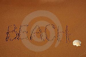 Word Beach On Sand Royalty Free Stock Photography - Image: 19718147
