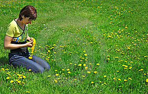 Girl Resting On The Green Meadow Royalty Free Stock Images - Image: 19718599