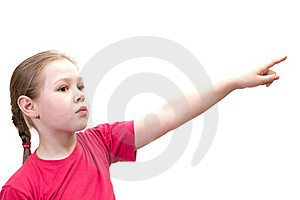 The Girl Points A Finger Royalty Free Stock Photography - Image: 19723627