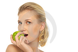 Beautiful Woman With Apple Royalty Free Stock Photos - Image: 19725608