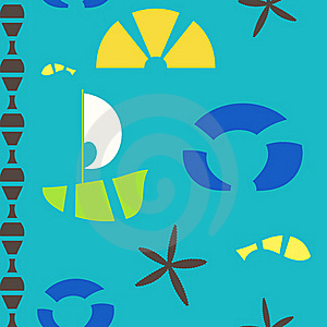 Vector Sea Objects Seamless Pattern Stock Photography - Image: 19731082