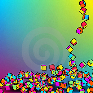 Falling Colour Cubes Abstract Template. EPS8 Royalty Free Stock Photography - Image: 19731997
