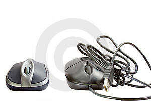 Wireless Mouse And Cable Mouse. Royalty Free Stock Photo - Image: 19732975