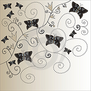 Elegant Floral Vintage Background With Butterflies Stock Photography - Image: 19736222