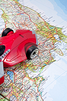 Traveling By Car On World Map Stock Images - Image: 19736664