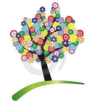 Tree Stylized With Flowers Stock Photos - Image: 19737083