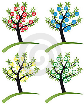 Set Of Tree Stylized With Flowers Royalty Free Stock Photos - Image: 19737088