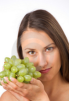 Young Woman And Fresh Grapes Stock Image - Image: 19737811