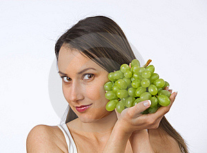 Young Woman And Fresh Grapes Royalty Free Stock Photo - Image: 19737815
