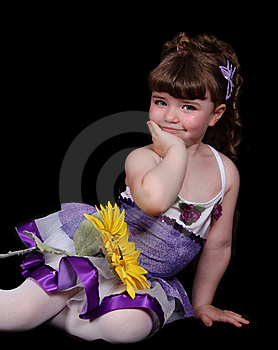 Sweet Little Girl In Ballet Outfit Sitting With Stock Images - Image: 19751084