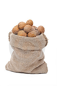 Burlap Sack With Walnuts Royalty Free Stock Images - Image: 19751159