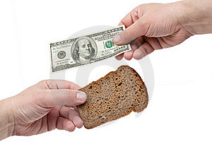 Hands Hold The Dollar And Bread Stock Photo - Image: 19751230