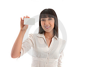Woman Holding Business Card Royalty Free Stock Photography - Image: 19755667