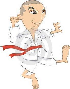 Cartoon Of Man Performing Karate Kick Stock Images - Image: 19756494